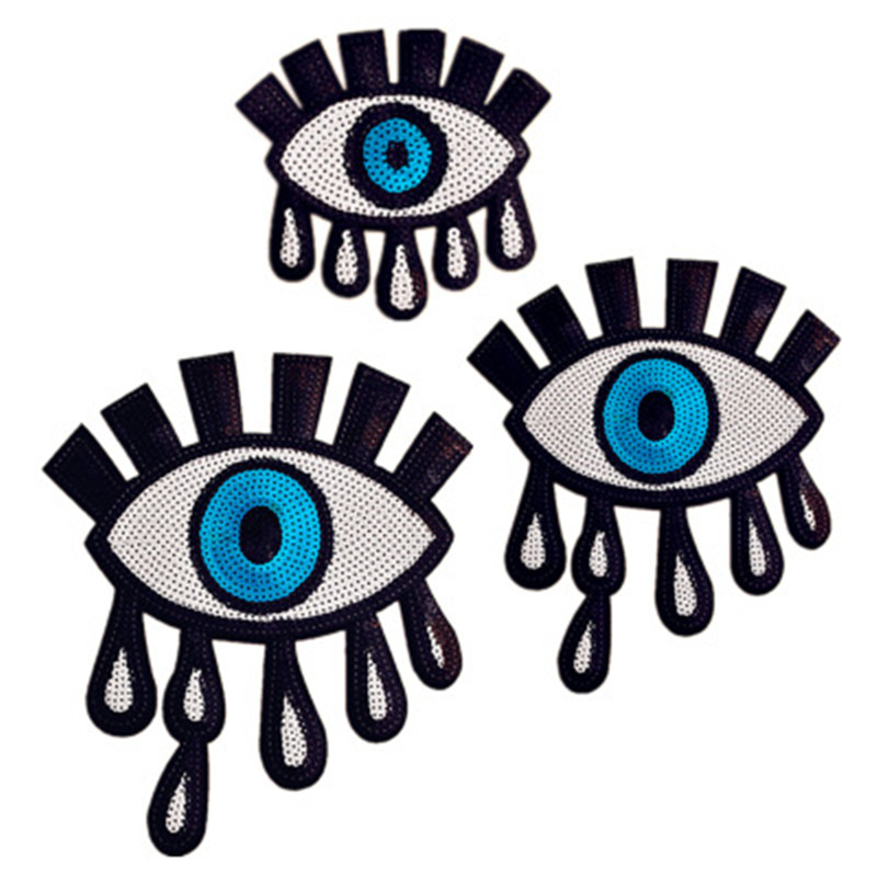 Big Size Eyes Sequins Fabric Patch Embroidered Iron on Patches For Clothing DIY Decoration Clothes Stickers Applique Badge