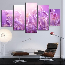 Modern Canvas Painting Framework HD Printed Wall Art Pictures 5 Pieces Purple Lavender Sunshine Landscape Poster Room Home Decor