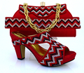Free shipping!! fashion shoes and bags to match Italian design for the lady,red color shoes and bag set !HVB1-48