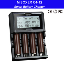 цена на Miboxer C4-12 12A 4 Slots LCD Screen Smart Battery Charger for Li-ion/Ni-MH/Ni-Cd/LiFePO4 18650 14500 26650 AAA AA battery