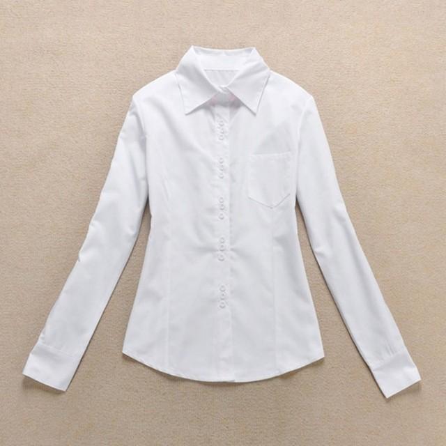 2020 Fashion Women's OL Shirt Long Sleeve Turn-down Collar Button Lady Blouse White Black Short Sleeve Tops 8