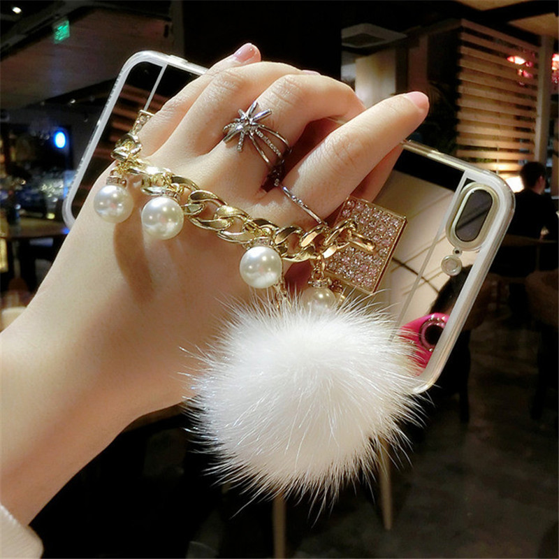Cellphones & Telecommunications Loyal For Samsung J3 J5 J7 2016 2017 Prime J4 J6 Rhinestone Pearl Bracelet Fur Ball Mirror Back Cover Soft Tpu Phone Case Pompom Activating Blood Circulation And Strengthening Sinews And Bones
