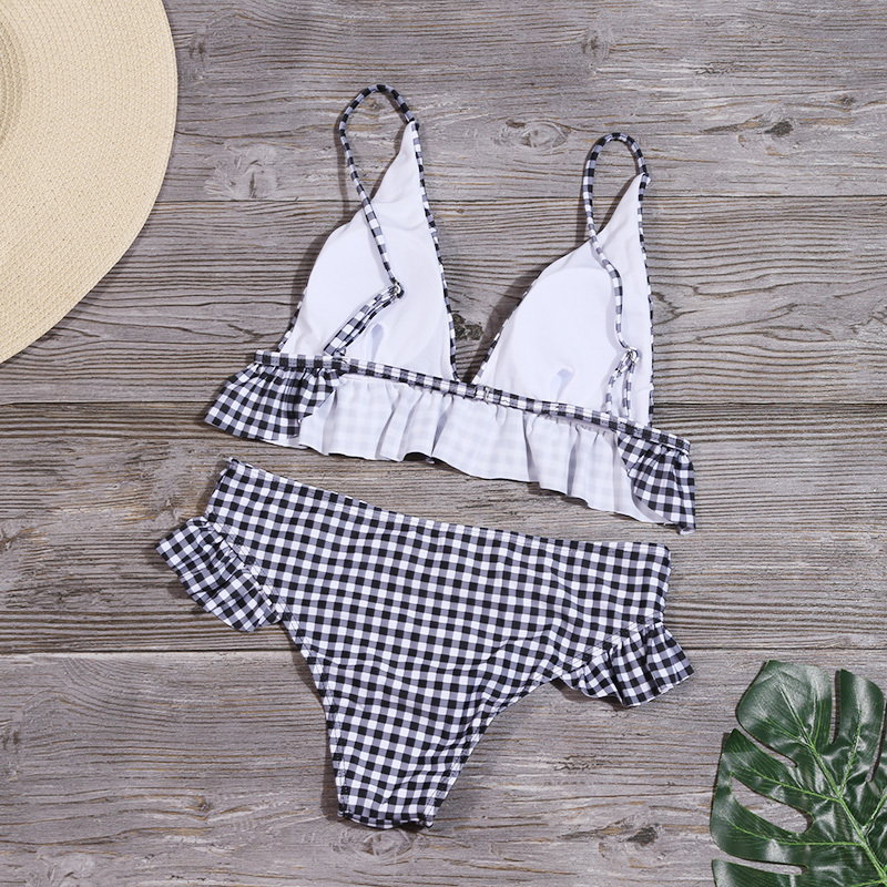 HTB1SrJDeoGF3KVjSZFoq6zmpFXao Women Plaid Print Swimsuit Sexy Ruffle Swimwear Brazilian Bathing Suit Bikinis Set Female Summer Halter Beach Wear Biquini
