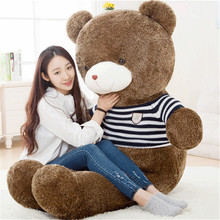 big plush round eyes blue and white striped sweater teddy bear toy huge  bear doll gift about 160cm