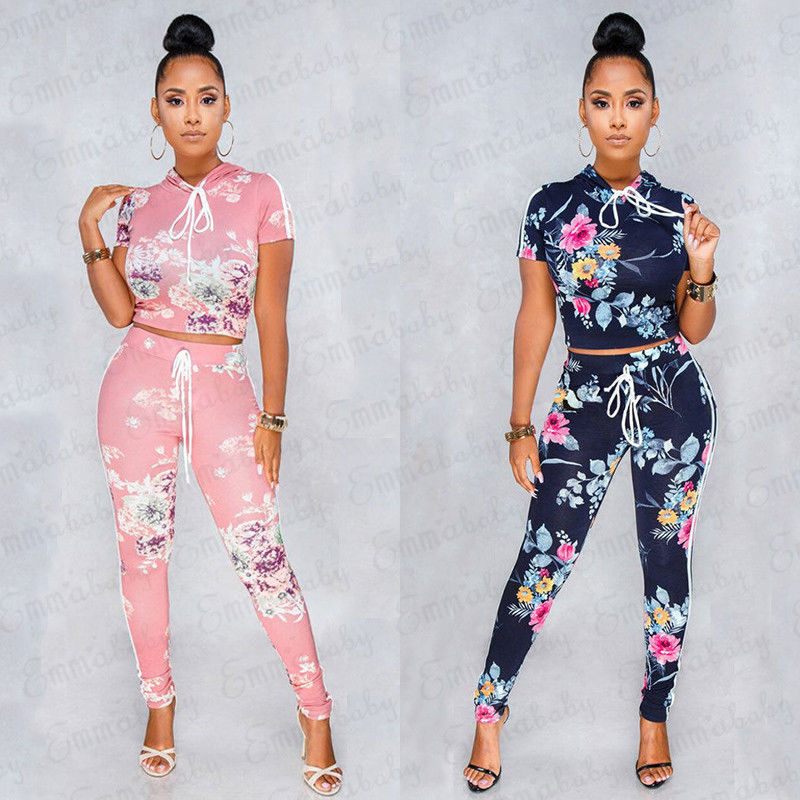 Women Hoodies suit and sets Casual hooded Tops Pants 2PCS Track Suits Woman Floral Print Trousers Jumper Tops Clothing Set conjuntos de camisa corta y pantalon