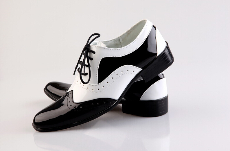 New comfortable Black and white Color matching man pointed leather ...