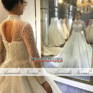 Image 4 - 2019 vestito da cerimonia nuziale pieno di perle di lusso della principessa abito da sposa reale di lavoro 100% di alta qualità