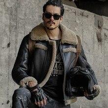 Jaqueta de couro genuíno masculino casaco de pele de carneiro shearling design curto moda casacos de pele outerwear masculino casacos de couro
