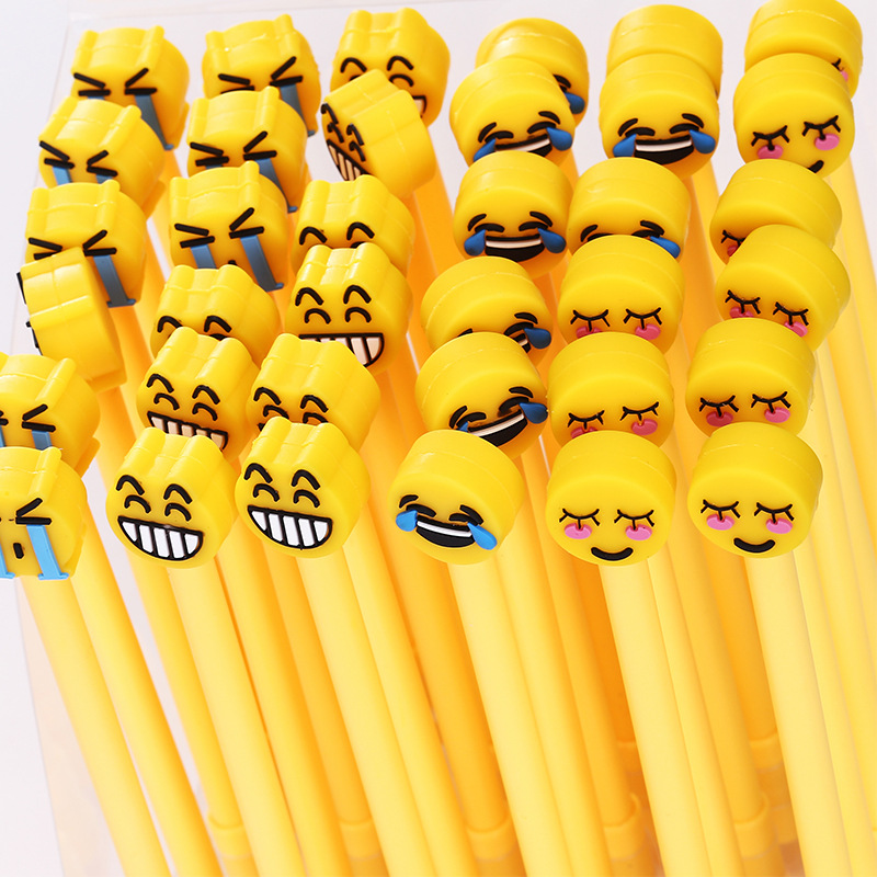1Pcs New Meng Expression Smile Yellow Face Gel Pen Ink Marker Pen School Office Supply Stationery 0.5mm Gift Pen E0217