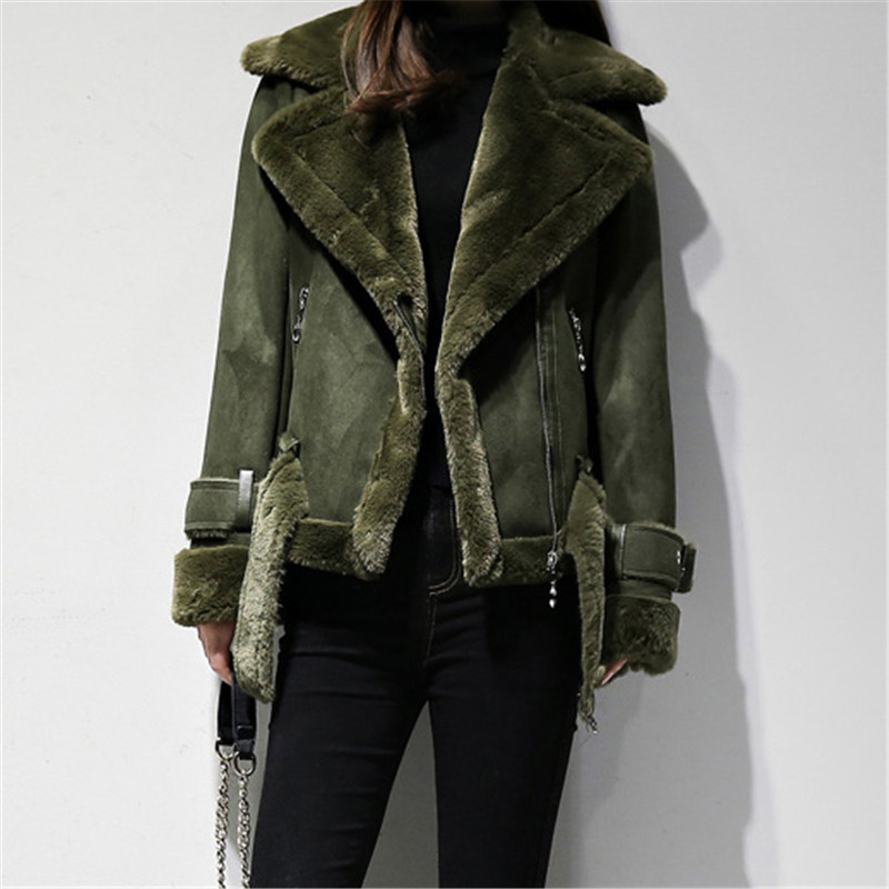 2018 Autumn Winter Women Shearling Coats Faux Suede Leather Jackets Thick Warm Sheepskin Short   Parkas   Faux Lambs Wool Coat A1376