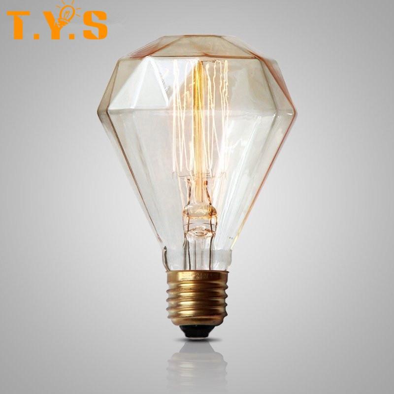 G95 Diamond Edison Bulb Retro Vintage Light E27 Dimmable ...
