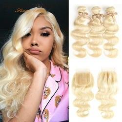 Rebecca 613 блондинка Связки с синтетическое закрытие волос бразильский средства ухода за кожей волна Remy человеческие волосы Weave Связки 613