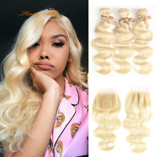 Blonde Bundles Closure Human-Hair Body-Wave Remy Rebecca Brazilian 613 Honey with Weave