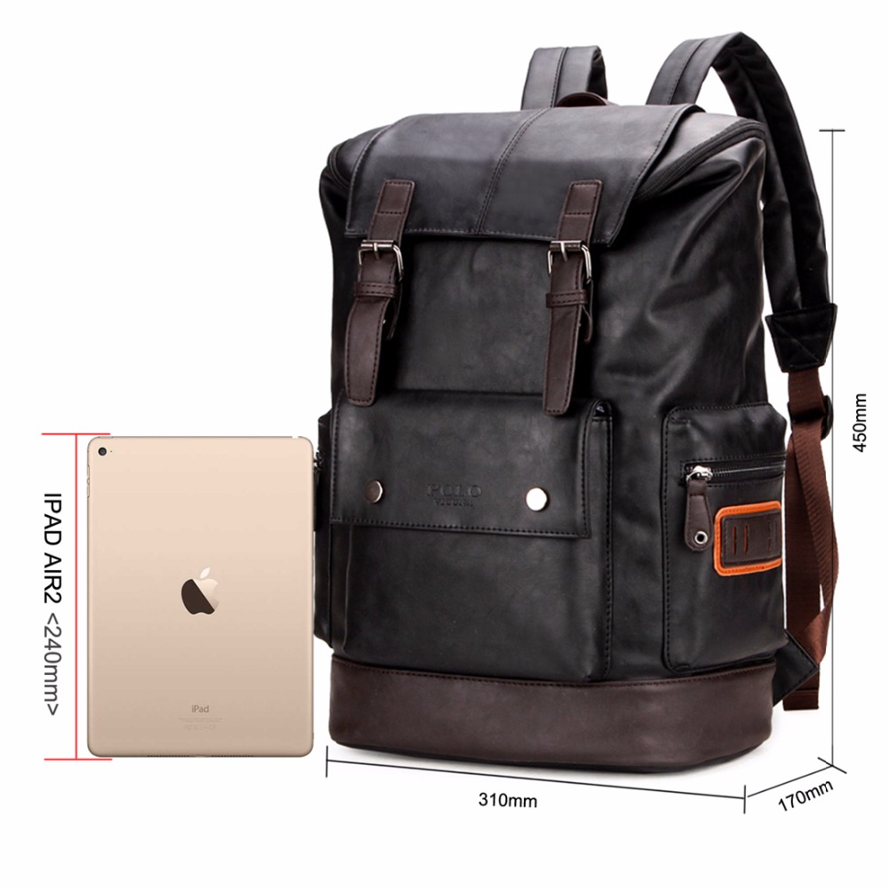 Image 3 - VICUNA POLO Simple Patchwork Large Capacity Mens Leather Backpack For Travel Casual mochila Men Daypacks Leather Travle Backpack-in Backpacks from Luggage & Bags