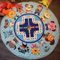 New Baby Play Mat Cartoon Animals Ludo Round Storage Mat Children Non Slip Crawling Mat Game Pad Kids Toys Play Pouch INS Style