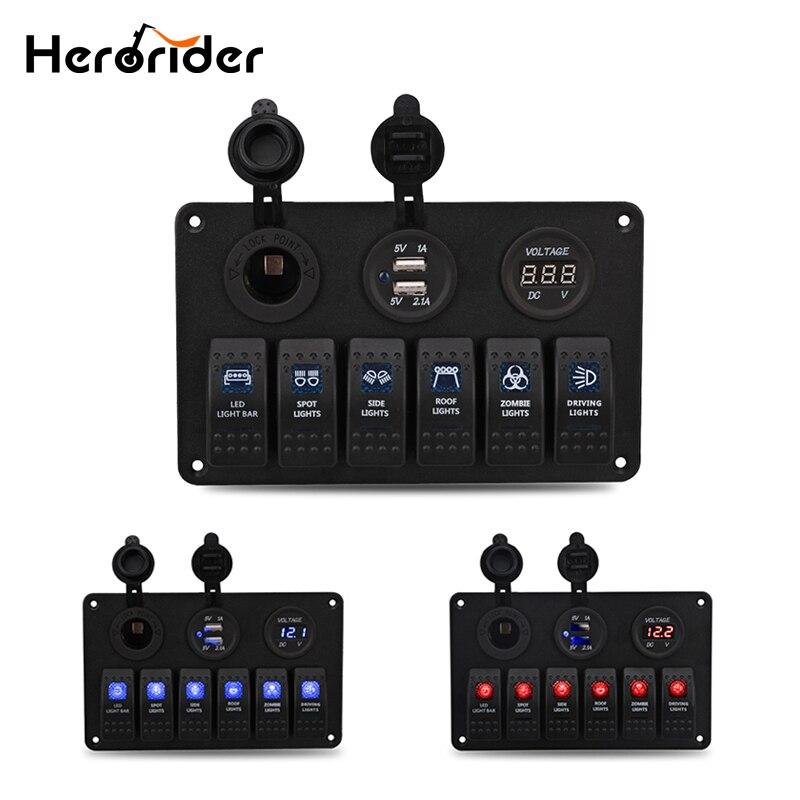 Herorider Car Styling 12V 24V Waterproof Boat Marine 6 Gang LED Rocker Switch Panel Circuit Breaker