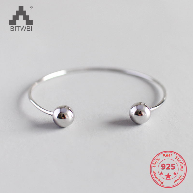Fashion Trendy 925 Sterling Silver Jewelry Simple Round Beads Bangle for WomenFashion Trendy 925 Sterling Silver Jewelry Simple Round Beads Bangle for Women