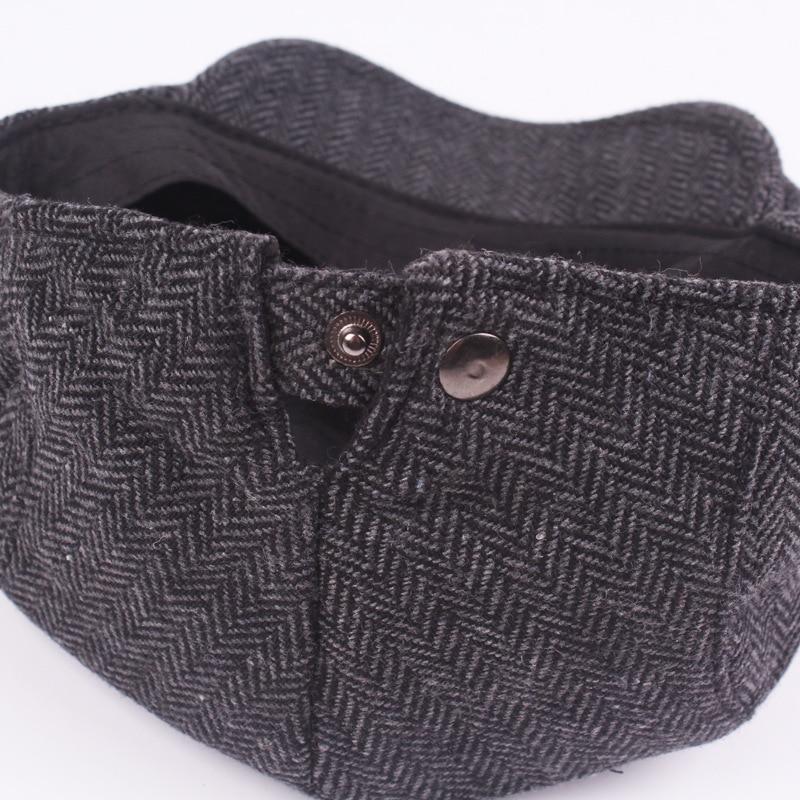 8ec3fa908ed HT1100 New Fashion Wo Felt Mens Berets Winter Warm Striped Flat Caps ...