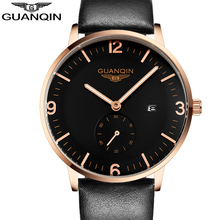 Mens Watches Top Brand GUANQIN Men Genuine Leather Quartz Watch Luminous Analog Display Man Date Clock Relogio Masculino