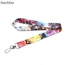 Patchfan Hip hop Punk 90s keyring keychain lanyard webbing ribbon neck strap para id badge phone holder necklace A1567