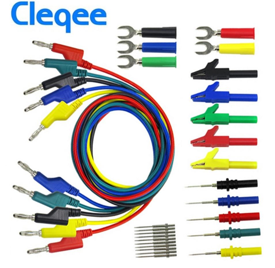 P1036B Electronic Test Leads,4mm Banana to Banana Plug Test Lead Kit for Multimeter Crocodile Clip /& U-Type Probe