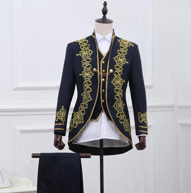 3 pezzi suit set moda uomo slim palazzo vestito convenzionale vestito Nero  ricami in oro vestito 37b750ff049