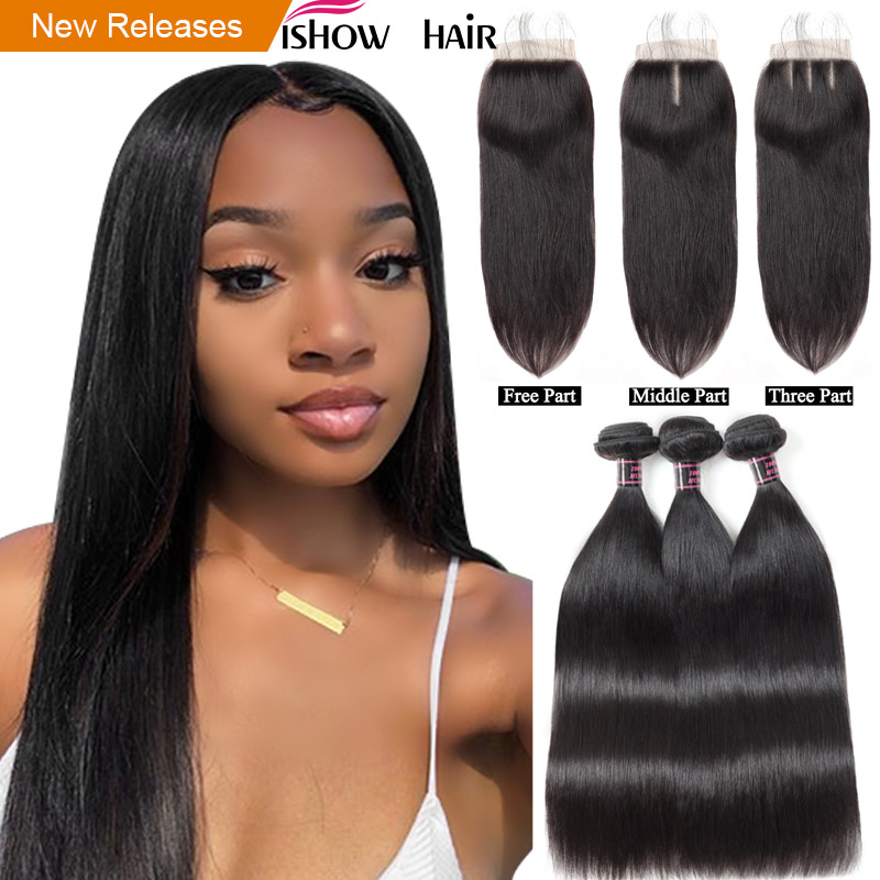 Ishow Straight Hair Bundles With Closure 100% Human Hair Bundles With - Menneskehår (sort)