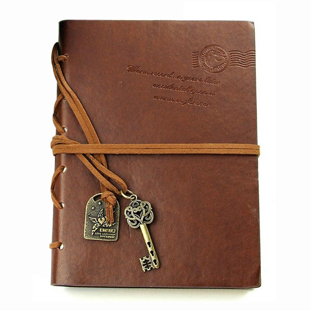 Abordable Classique Rétro En Cuir Bound Blank Pages Journal Journal Bloc-Notes Portable 143*105*20mm.