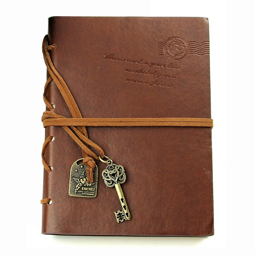 Affordable Classic Retro Leather Bound Blank Pages Ufficiale Diario Notepad Notebook 143*105*20mm.