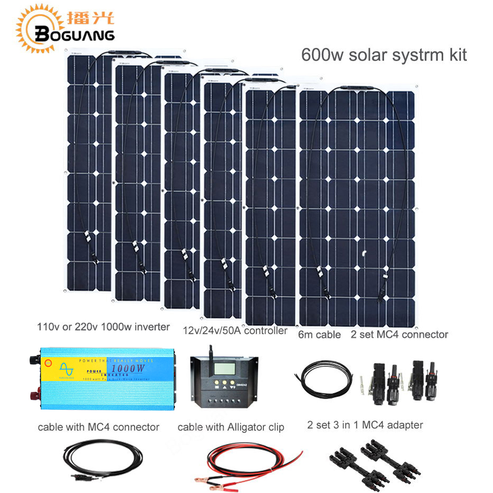 Boguang 600w solar DIY kit system 100w solar panel 50A controlle MC4 connector adapter cable for