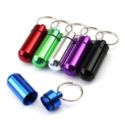 Neue Hohe Qualität Tragbare Wasserdichte Mini Blau Aluminium Keychain Tablet Lagerung Box Flasche Fall Halter