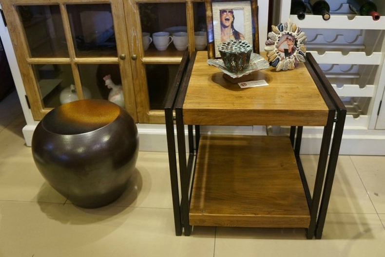83bcd245a2a0a LOFT style American country to do the old wood tables living room end table  tea table a few phone Continental Iron small tables