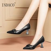 цена на Women Shoes High Heel Pumps Leather Ladies Shoes Pointed Toe Black Heels Beige Work Shoes Flowers Buckle 6cm