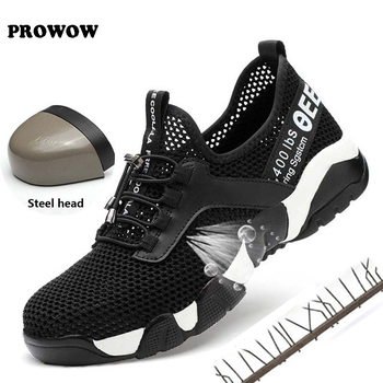 Women Men Steel Toe Work Safety Shoes Lightweight Breathable Reflective Casual Sneaker Prevent piercing Protective boots