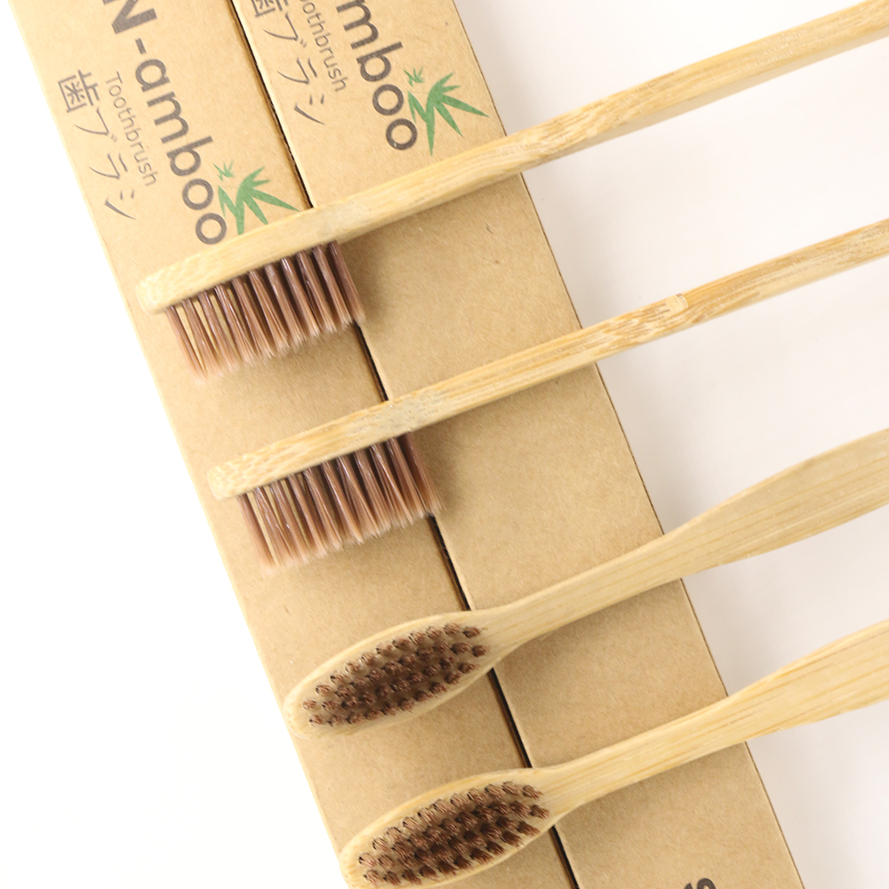 DR.PERFECT 1000 Pieces  Brown Curved Style bamboo toothbrush soft-bristle bamboo Black fibre wooden handle Black toothbrush