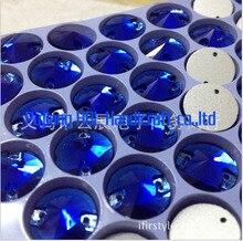 Sapphire 12mm 48 stücke Satellite Kristallglas Nähen Auf Steinen Runde 2 löcher Tipp Bottom Strass Für Kleid, Brautkleider