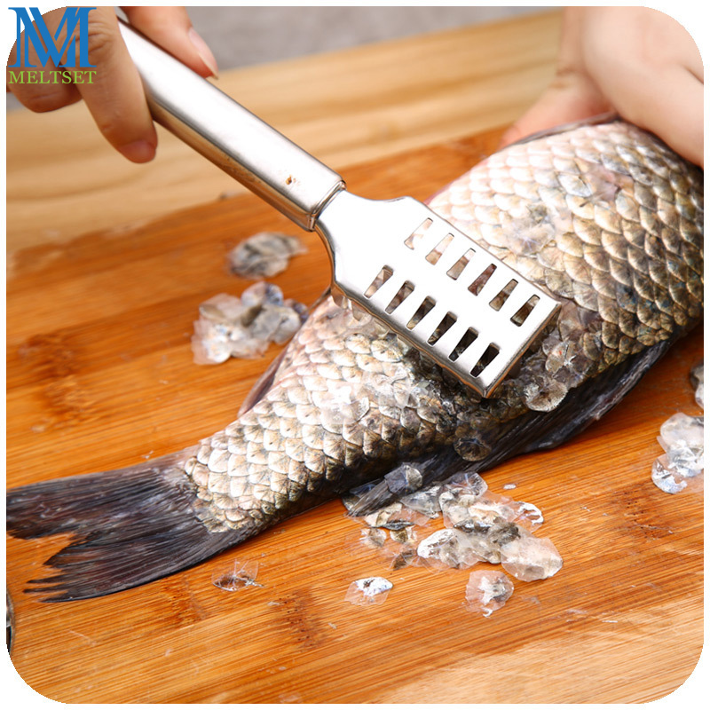 Stainless steel fish scaler remover kitchen scraper fish for Fish cleaning tools