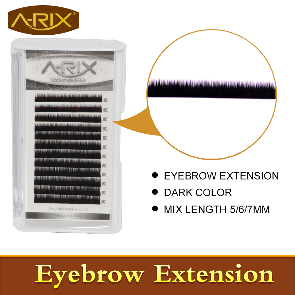 New Arrival Eyebrow Extension 4pcs/lot Faux Mink Hair Professional Makeup Tools Mix Length 5/6/7mm 0.10/0.15 Dark Color