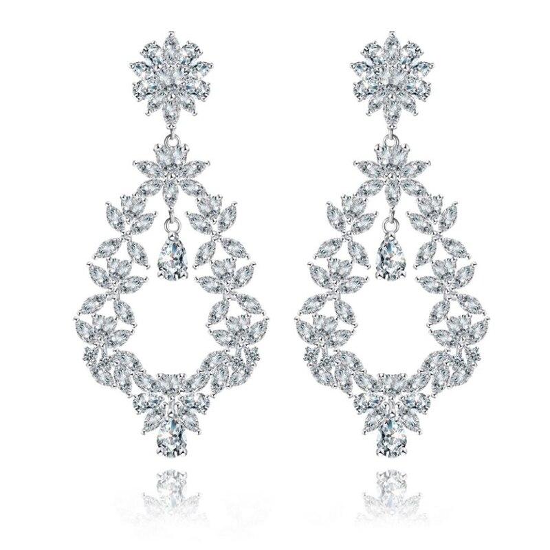 XOWSHINE Luxury Plant Hanging Earrings Women Cubic Zirconia Claires Big Ear Pendant Female Trendy Statement Copper Jewelry