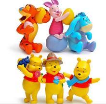 6pcs/set Cartoon Tigger Piglet Eeyore Winnie Figures DIY Winnie PVC Action Figure Toys Doll Micro Landscape Collection Model Toy