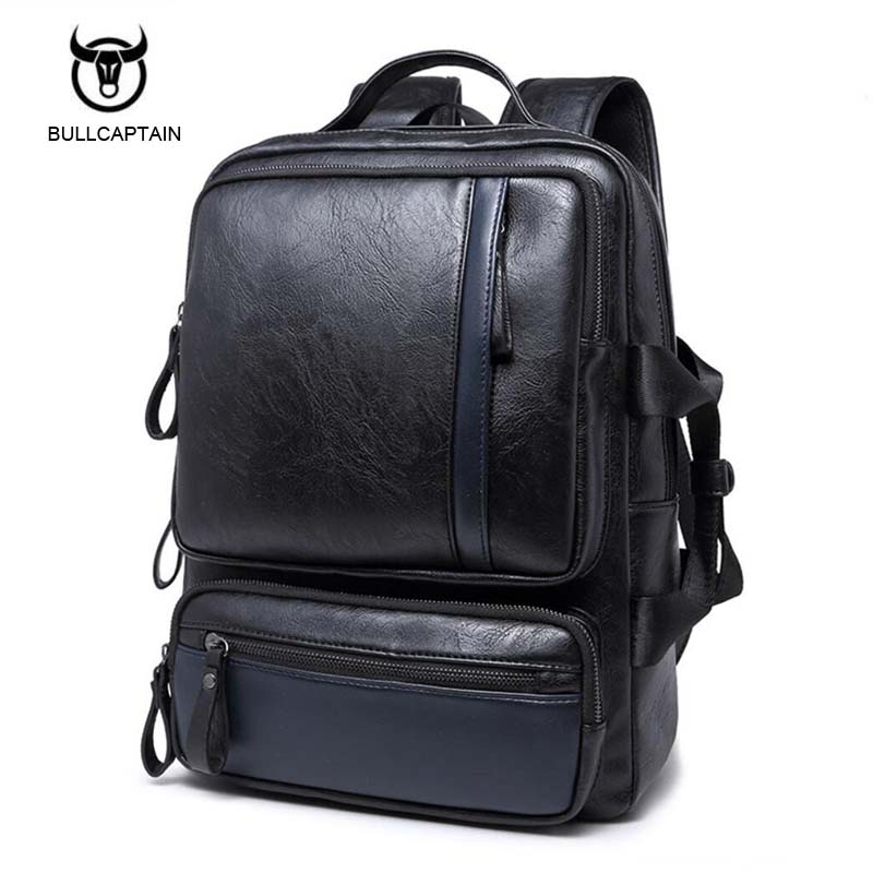 Preppy Style Men Backpack School Bags For Teenagers Leather Travel Bag Backpack Male Deep Black and Blue Cover Schoolbag Mochila purple flowers printed dream teenagers backpack fresh preppy adorable sthdents school bags fashion travel hiking computer bag