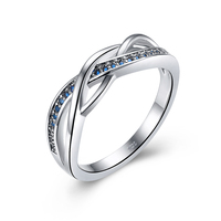 Solid Fine 925 Sterling Silver Celtic Rings For Women Classic Irish Wedding Jewelry Blue Birthstone September
