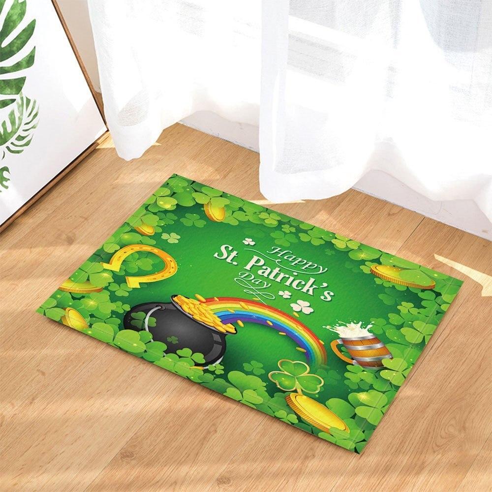 День Святого Патрика Декор Золотая монета с радугой Clover Leaf плесени душ Шторы комплект фланель Нескользящая пол коврик коврики для ванны