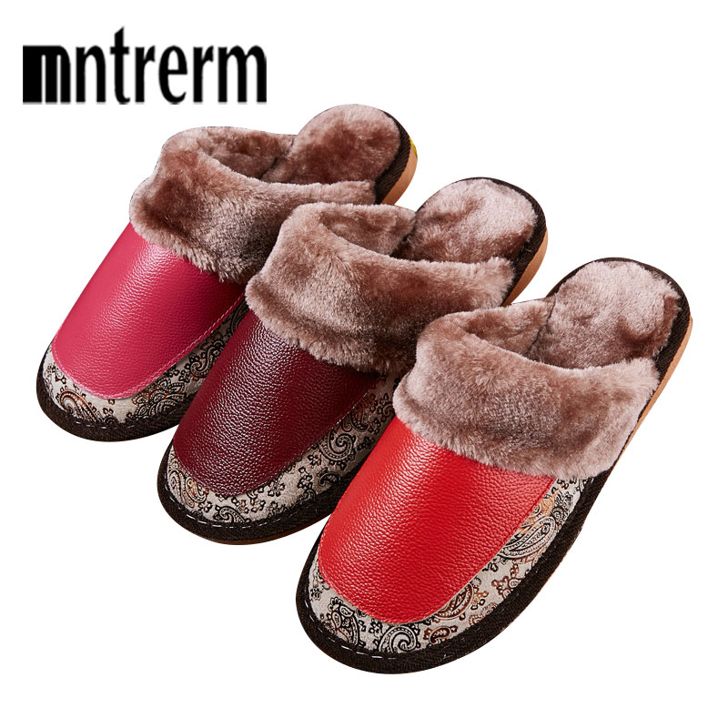 Mntrerm 2018 New Genuine Leather Home Slippers High Quality Winter Women Slipper Plush Warm Indoor Shoes Lovers Leather Slippers 2017 new autumn winter women slippers genuine leather high quality rabbit hair fashion slippers flat home slider warm fluff 8 40