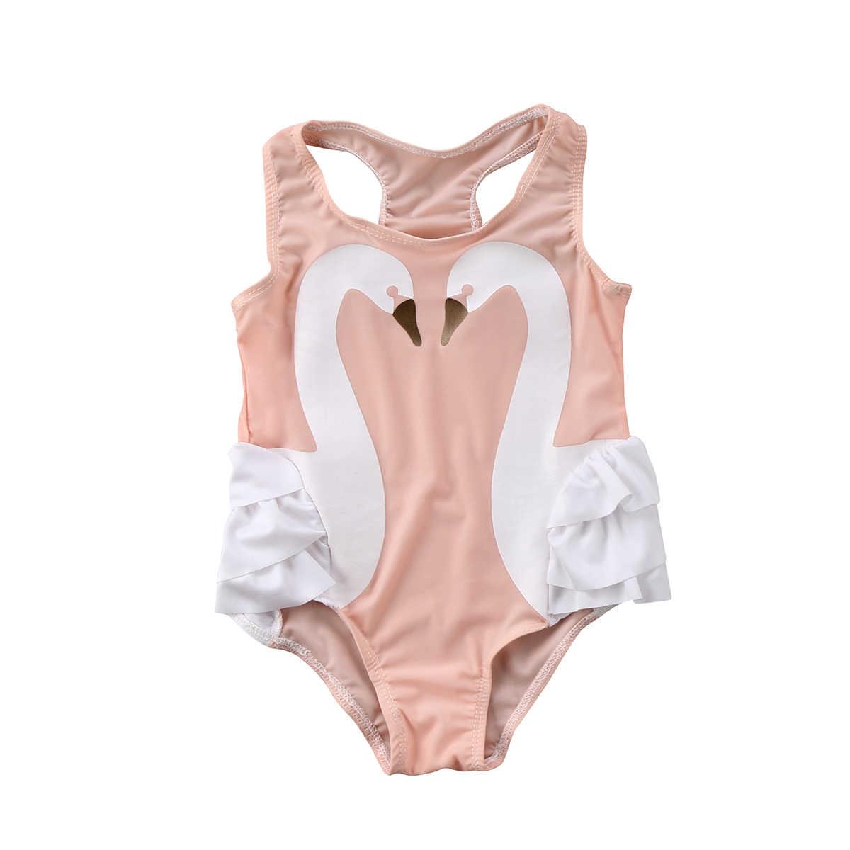 74803c25f055 Summer Baby Girl Swimsuit Lovely Swan Bikini Toddler Baby Kids Girls Tutu  Swimsuit Swimwear Ruffle Bikini