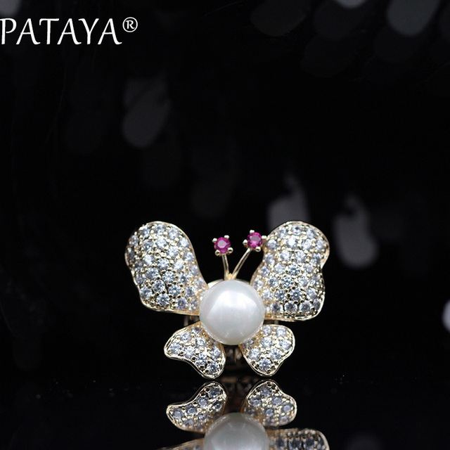 PATAYA New Arrivals White Natural Pearls 585 Rose Gold Jewelry For Women Irregular Butterfly Shape Rose Red Antennae Brooches
