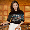 Celebrity Runway Designer Pullover Woman High Quality Abstract Pattern Knitting Black Summer Sweater Top