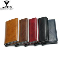 Wholesale New Antitheft Men And Women Credit Card Holder RFID Aluminium Business Crazy Horse PU Leather MIni Wallet
