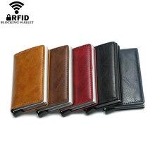 Wholesale New Antitheft Men And Women Credit Card Holder RFID Aluminium Business Crazy Horse PU Leather MIni Wallet