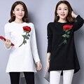 Tendência nacional solto bordado camisas das mulheres elegantes de manga comprida de malha camisa básica pullover outerwear preto branco feminino